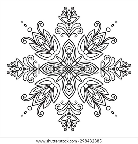 Hand drawing zentangle element. Italian majolica style Black and white. Flower mandala. Vector illustration. The best for your design, textiles, posters, tattoos, corporate identity - stock vector