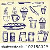 Hand drawings of ice-creams, knifes, cups, and many other things which relate with food - stock vector