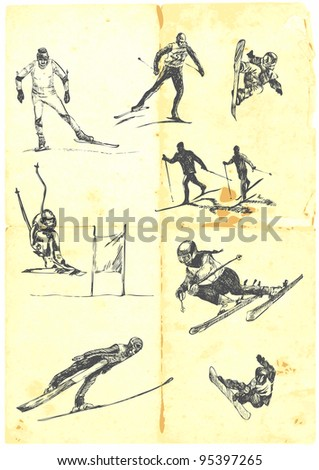 Hand drawn a large collection of alpine skiing - downhill, cross country, jumping and snowboarding. Detailed and precise work. - stock vector
