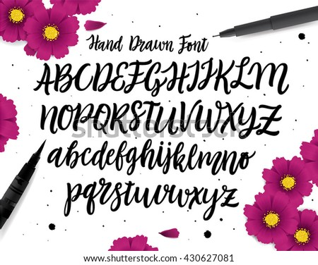 Hand drawn ABC set. Brush painted characters: lowercase and uppercase. Handwritten script font. Typography alphabet for your designs: logo, typeface, web banner, greeting card, wedding invitation.    - stock vector