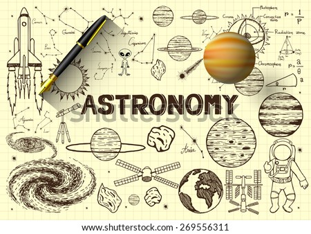 Hand drawn about astronomy on yellow paper with 3D fountain pen and a planet. - stock vector