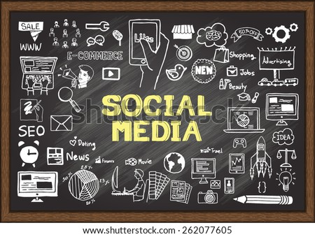 Hand drawn about SOCIAL MEDIA on chalkboard. - stock vector