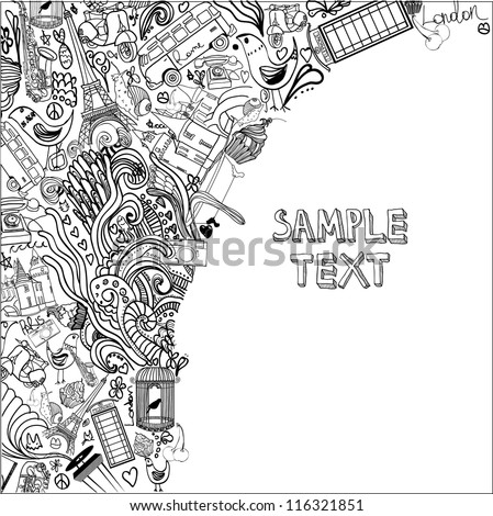 hand drawn abstract background - stock vector