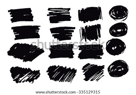 Hand drawn abstract black paint brush strokes. Vector set collection of shapes isolated on white background. Round, oval, ellipse, circle, rectangle elements for design. - stock vector