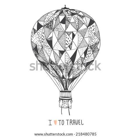 hand drawn abstract decorative cute air balloon - stock vector