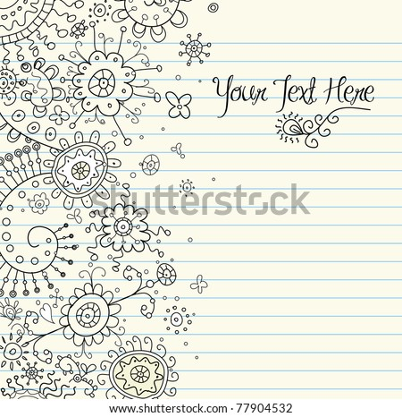 Hand-Drawn Abstract Henna Doodles and Flowers Vector Illustration - stock vector