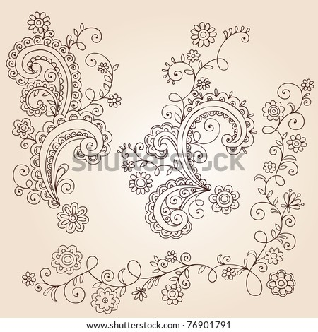 Hand-Drawn Abstract Henna Mehndi Abstract Flowers and Vines Paisley Doodle Vector Illustration Design Elements - stock vector