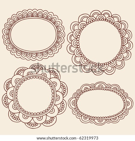 Hand-Drawn Abstract Henna Mehndi Flowers Frames Doodle Vector Illustration Design Elements - stock vector