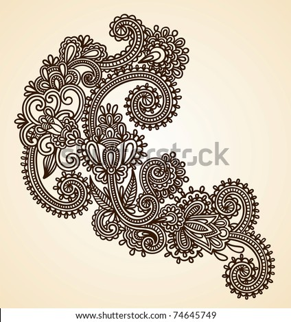 Hand-Drawn Abstract Henna Mendie Flowers Doodle Vector Illustration Design Element - stock vector