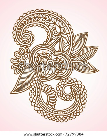 Hand-Drawn Abstract Henna Mendy Flowers Doodle Vector Illustration Design Element - stock vector