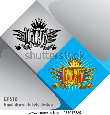Hand drawn abstract label in colors and black&white on square design element - stock vector
