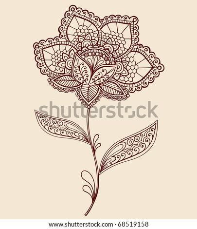 Hand-Drawn Abstract Lace Henna Mehndi Flowers and Paisley Doodle Vector Illustration Design Element - stock vector