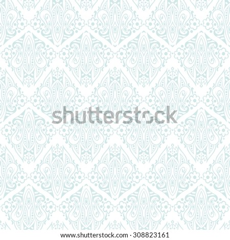 Hand-drawn abstract lace vintage ethnic paisley ornament. Seamless retro pattern can be used for wallpaper, pattern fills, web page background,surface textures - stock vector. - stock vector