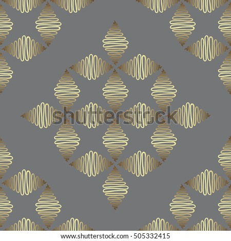Hand drawn abstract ornament pattern. Vector vintage seamless background.