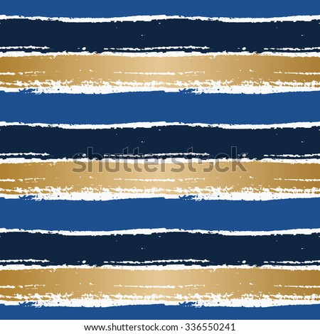 Hand drawn abstract seamless pattern. Horizontal dry brush strokes texture in blue and gold on white background. - stock vector