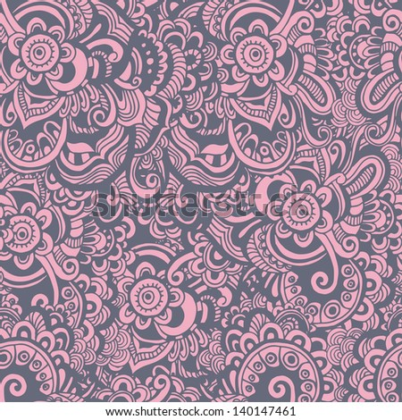 Hand drawn abstract seamless pattern in pastel tones. Endless oriental background