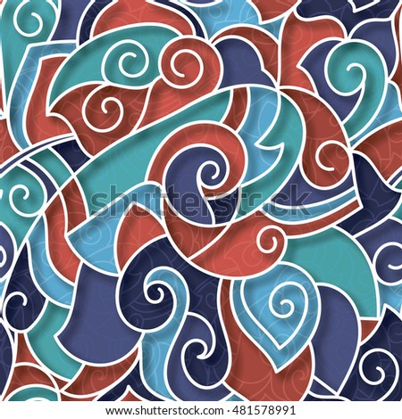Hand-Drawn Abstract Seamless Pattern With RED-BLUE-VIOLET-WHITE Curves