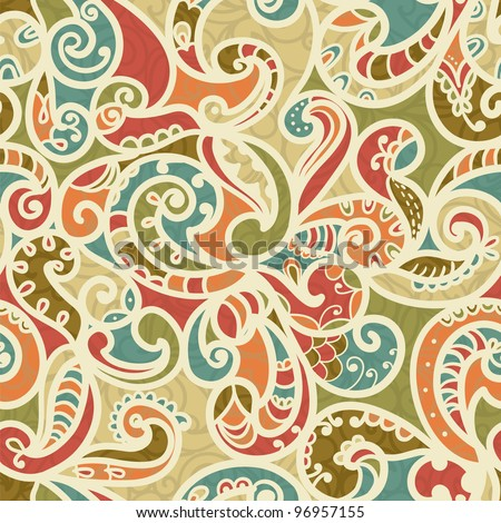 Hand-Drawn Abstract Seamless Pattern With Vintage-Colored Curves
