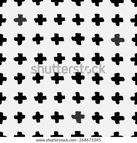 Hand drawn abstract seamless repeat pattern with cross shapes in black and white. - stock vector