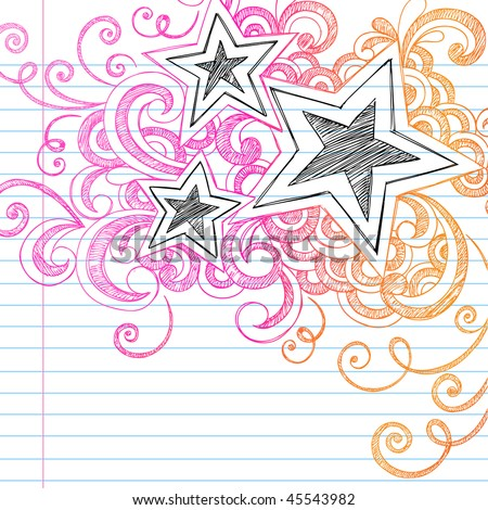 hand drawn abstract stars sketchy notebook doodles stock