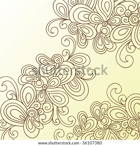 Hand-Drawn Abstract Swirls Doodle Henna Vector - stock vector