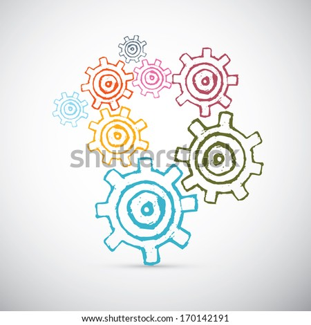 Hand Drawn Abstract Vector Cogs - Gears - stock vector