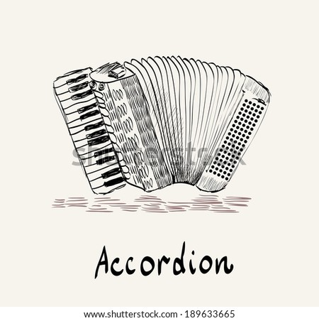 hand drawn accordion on a light background - stock vector