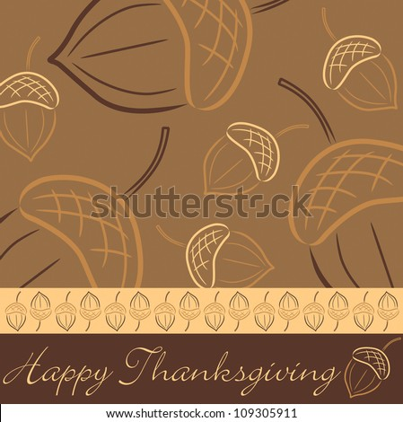 Hand drawn acorn Thanksgiving card in vector format. - stock vector