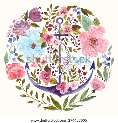 Hand drawn adorable anchor with flowers in watercolor technique.  - stock vector