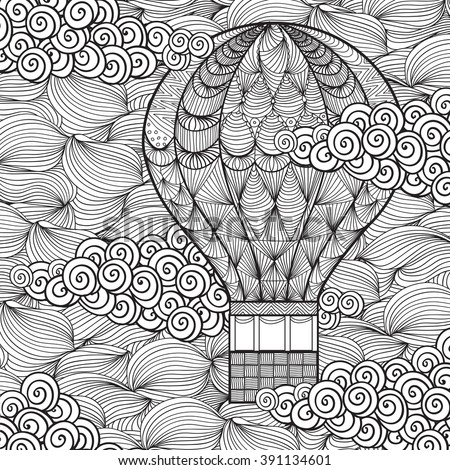 Hand Drawn Adult Coloring Page Air Stock Vector (2018) 391134601 ...