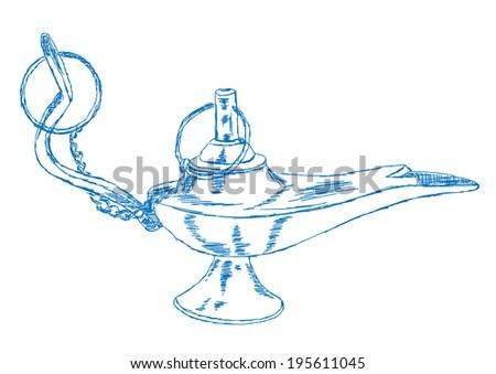 Hand Drawn Aladdin's Lamp - Vector Illustration - stock vector