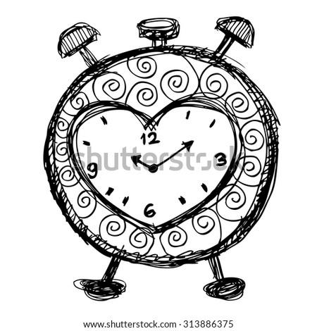 Hand drawn alarm clock  - stock vector