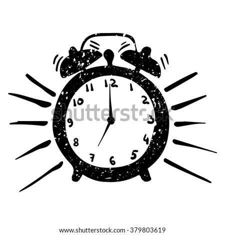 hand-drawn alarm clock isolated on a white background, vector illustration - stock vector