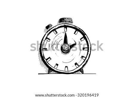 Hand drawn alarm clock on white background. Vector illustration. - stock vector