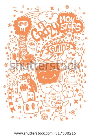 Hand drawn Aliens and Monsters cartoon doodle,suitable for Halloween. Vector illustration.
