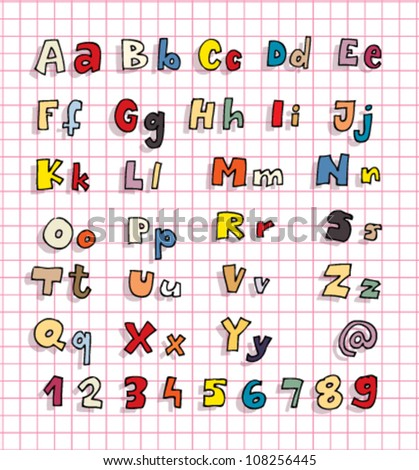 Hand drawn Alphabet ABC with shadows and colors - stock vector