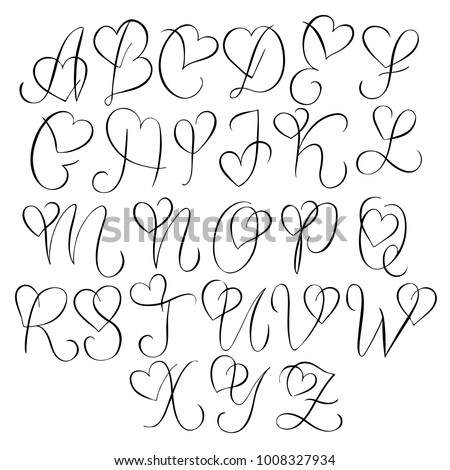 Hand Drawn Alphabet Calligraphy Letters Heart Stockvector ... K Alphabet In Heart
