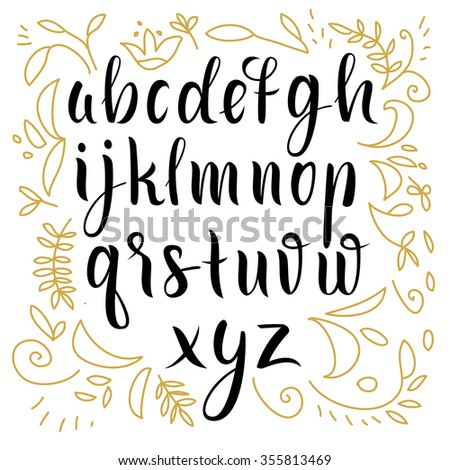 Hand drawn alphabet. Font - stock vector