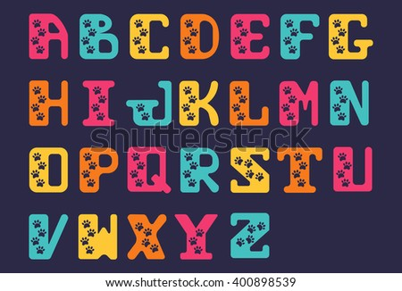hand drawn alphabet font of capital bold letters. Zoo letters. Stylized alphabet with traces of animals.  Font with animal footprints