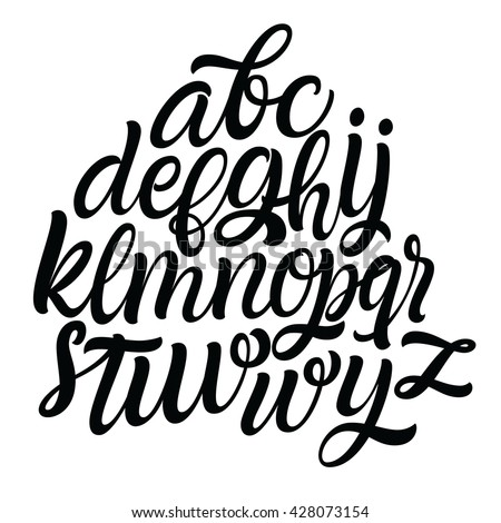 Hand Drawn Alphabet Font Script Type Letters Isolated On A White Background