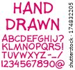 Hand drawn alphabet. Handwritten font. Isolated in white background. Vector illustration. - stock