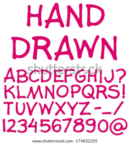 Hand drawn alphabet. Handwritten font. Isolated in white background. Vector illustration. - stock vector
