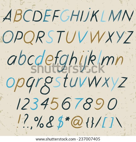 Hand drawn alphabet in retro style. ABC for your design. Letters of the alphabet written with a brush. Easy to use and edit letters. - stock vector