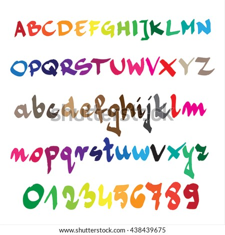 Hand drawn alphabet in Vector Format. Color can be changed by one click - stock vector