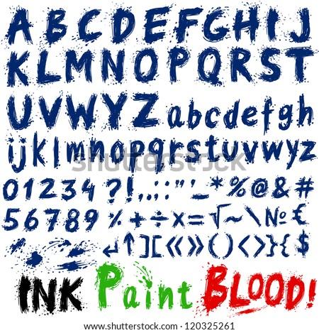 Hand drawn alphabet letters and symbols, ink splatter, paint splash font, bloody letters - stock vector