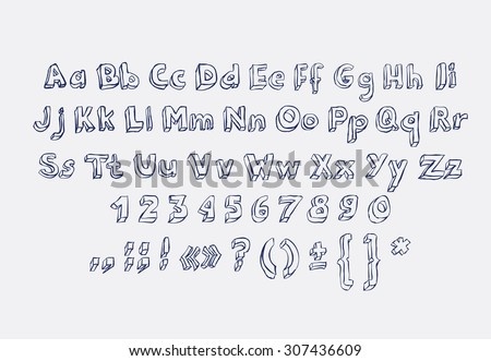 Hand drawn alphabet letters doodle scribble childrens abc, vector font. Type, numbers, characters and punctuation marks. - stock vector