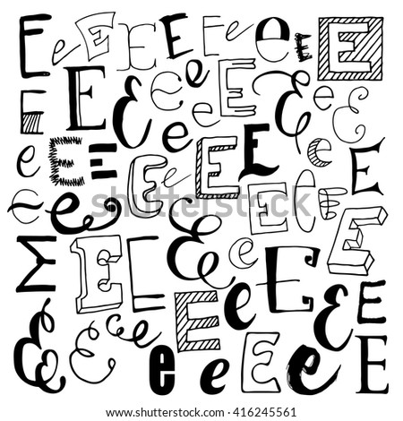 Hand drawn alphabet letters doodle sets stock vector 416245561 hand drawn alphabet letters doodle sets with e thecheapjerseys Images