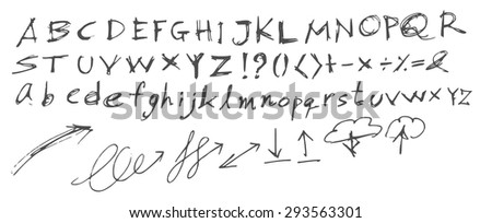 Hand drawn alphabet letters, in two faces (upper and lowercase). Vector - stock vector