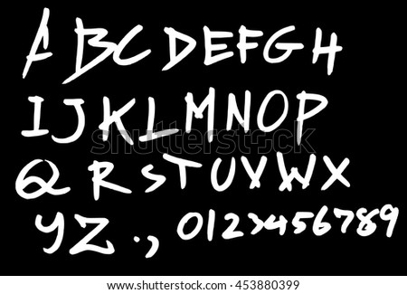 Hand drawn alphabet letters Vector on chalk board