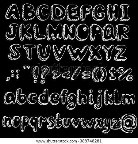 Hand drawn alphabet letters. White vector alphabet on black background.